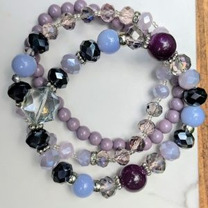 Crystal and bead three strand bracelet